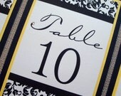 Damask Wedding Table Numbers in Yellow with Swarovski Crystal