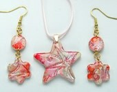 Batik star polymer clay pendant in pink, RESERVED for boundbythebich