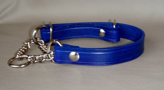SALE  3/4 of an  inch width Rustic Blue Leather Adjustable Chain Martingale Collar Fits From 13 to 17 inches
