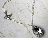 Crystal and Sparrow. Glass Gem and Bird Necklace.