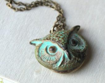 Free shipping. Owl. Feathery Friend. Verdigris Patina Brass Locket