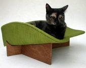 RESERVED for laughinjack - Retro Modern Pet Bed in Avocado Textured Stripe