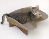 Retro Modern Pet Bed in Two Taupe Tweeds