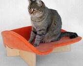 Retro Modern Pet Bed in Creamy Orange Velvet