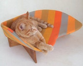 Mid-Century Mod Cat Bed in Orange Stripe