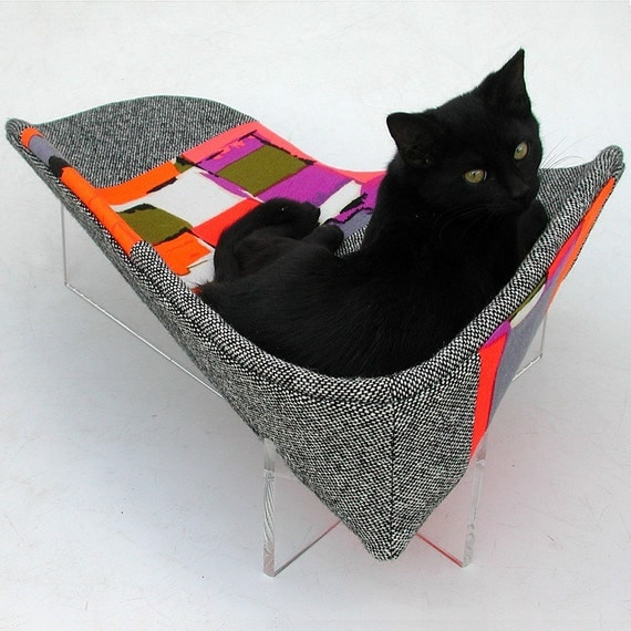 Retro Modern Pet Bed in Tweed and Orange with Acrylic