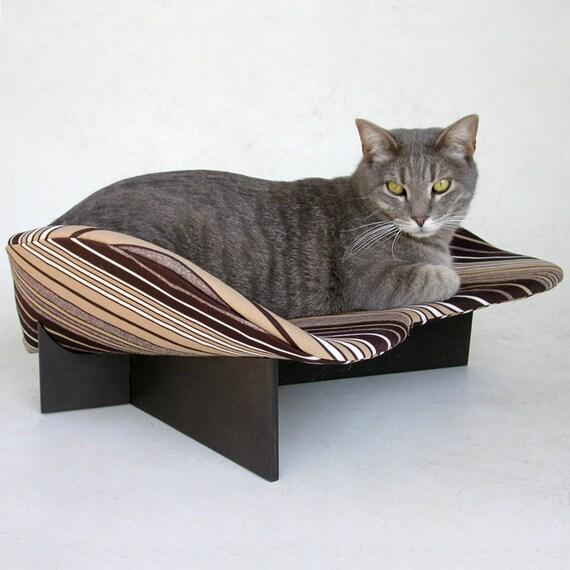 Pet Bed, Midcentury Modern, Black & White Stripe