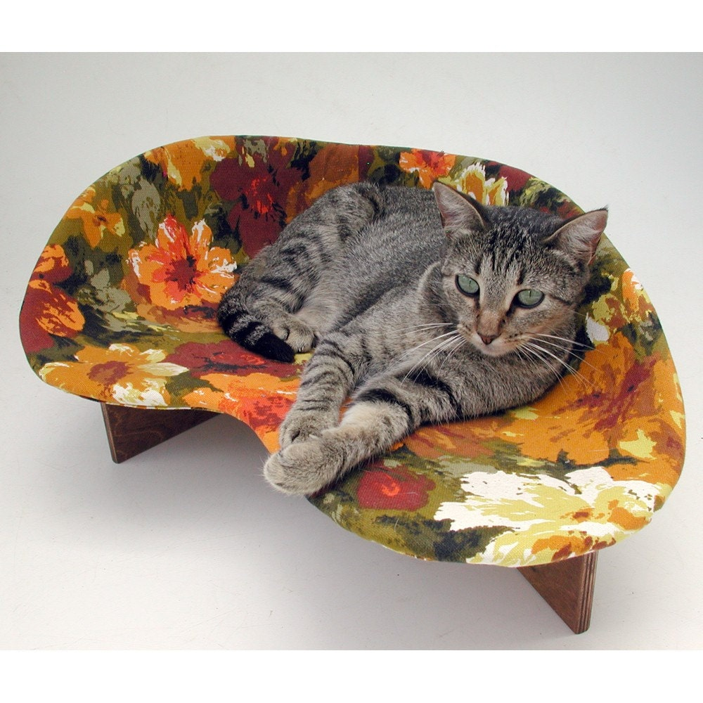Retro Modern Pet Bed In Rust Cotton Floral