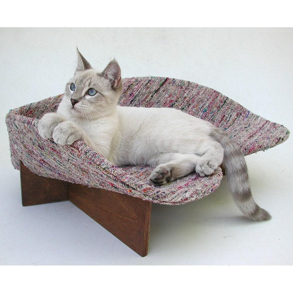 Retro Modern Pet Bed In Grey Rag Weave