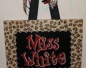 Personalized, Handpainted Custom Canvas Wall Art (11x14 black, red, leopard example)