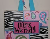 Personalized, Hand Painted Canvas Wall Art (11x14 zebra and paisley example)