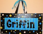 Personalized, Hand Painted Canvas Wall Art (12x24 boys nursery example)