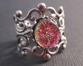 Pink Gold Glass Filigree Ring