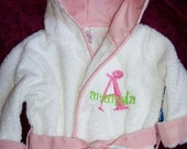 Personalized Pink Trimmed Baby Bath Robe with Embroidered Monogram