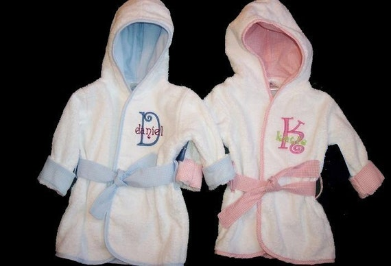 Personalized Baby Bath Robe with Embroidered Monogram Pink or Blue