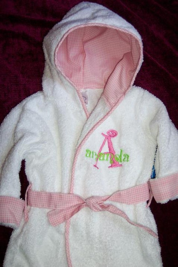 personalized pink trimmed baby bath robe with embroidered