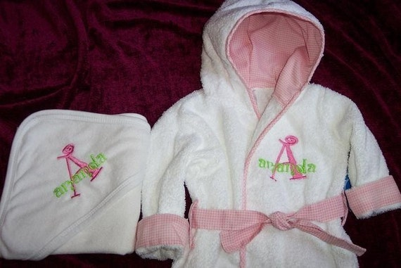 monogrammed baby bath robe and hooded towel set 0