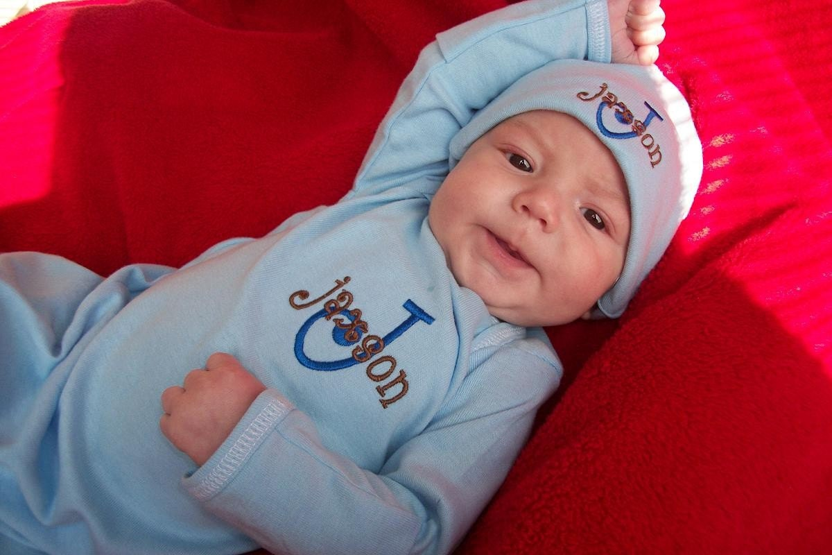 Baby Boy Clothes Coming Home Outfit Gown Mitten Cuffs Beanie
