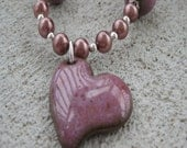 Mulberry Ceramic Heart Necklace