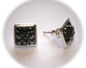 Silver Studs Earrings Rhomb-Shape Incrusted With Black Swarovski Crystals