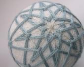 decorative ball home decor - hand embroidered ornament - japanese temari thread ball - blue silk