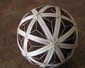 decorative ball home decor - hand embroidered  - japanese temari thread ball - mocha