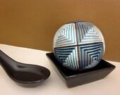 fiber art home decor - hand embroidered japanese temari thread ball - chocolate brown and blue fractal