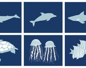 Ocean animal room decor set of 6, 8 x 10 art prints - different colors and sizes available