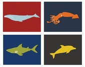 Nursery Art, ocean animal decor set of 4, 5 x 7 Modern Art Prints - different colors and sizes available