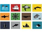 Nautical Nursery Decor, baby boy nautical nursery, set of 4, 13 x 19 Art Prints - choose your colors