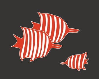 Striped Fish nursery decor by nevedobson 13 x 19 art print - different colors and sizes available