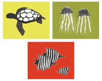 Ocean ART set of 3, 8 x 10 modern nursery prints - different colors and sizes available
