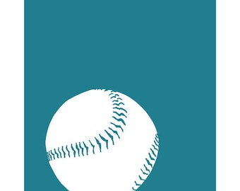 Modern Baseball Art, sports nursery room decor 13 x 19 Art Print - customizable in colors