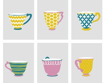 Girls room decor, modern teacup prints, set of 6, 5 x 7 art prints - different sizes and colors available