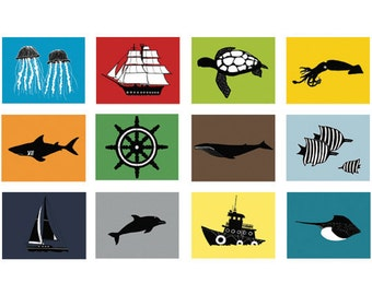 Nautical nursery art for boys - set of 6, 13 x 19 art prints - available in different sizes and colors
