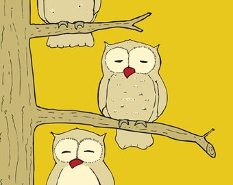 Kids Owl art, 5 x 7 print - available in different sizes