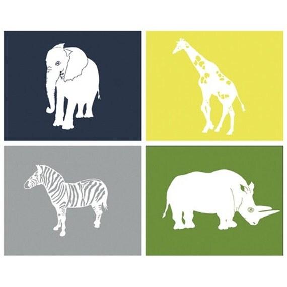 Safari Nursery Art, animal nursery art by nevedobson, set of 4, 5 x 7 art prints - different sizes and colors available