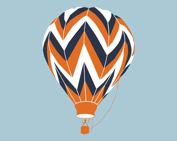Chevron Pattern Hot Air Balloon Art Print 13 X 19 Different