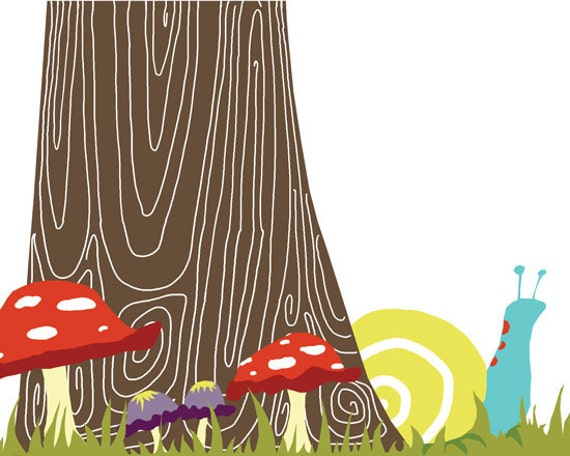 Woodland nursery print, snail wall art 5 x 7 - available in different sizes and colors