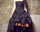 Steampunk Vampire Gothic Lolita Black Cotton Wedding Dress-Custom to your Size