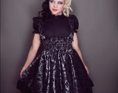 Plus Size Steampunk Jumper Dress Silver and Black Velvet Flock-Custom to your size 3X-5X