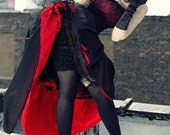 Gothic Steampunk Vampire Bustle Dress Lace Black and Red-SAMPLE SALE