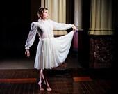 Sheer Silk Chiffon Dress - Fancy Steampunk Victorian High Society Style - Edwarian Wedding -Custom to Order