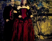 Halloween Wedding Dress -  Red Ballgown Gothic Cinderella- Fairytale- Corset Top - Off the Shoulder Sleeves-Custom to your size