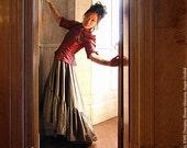 Plus Size Steampunk Skirt Asymmetrical Hem in Slate Green Ellis Style-Custom to your size 3x-5x