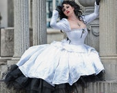 Alternative Wedding Gown- Gothic Romance- Silk Fantasy Princess Royalty Dress- Corset Top with Sleeves- Hi-Low Hem- Custom to your size