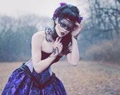 Alternative Steampunk Wedding Gown Purple Decadence Velvet Flock-Ready to ship Small