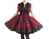 Lolita Jumper Steampunk Dress Victorian Print Red and Black Flock JSK- Ready to ship Medium