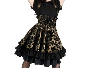 Steampunk Lolita Jumper Skirt Party Dress in Gold Velvet Flock- Petite to Plus size - Custom to your Size - S-5XL