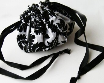 Steampunk Purse - Gothic Accessory - Reniassance Draw String Bag Velvet Flock Taffeta -Custom to Order